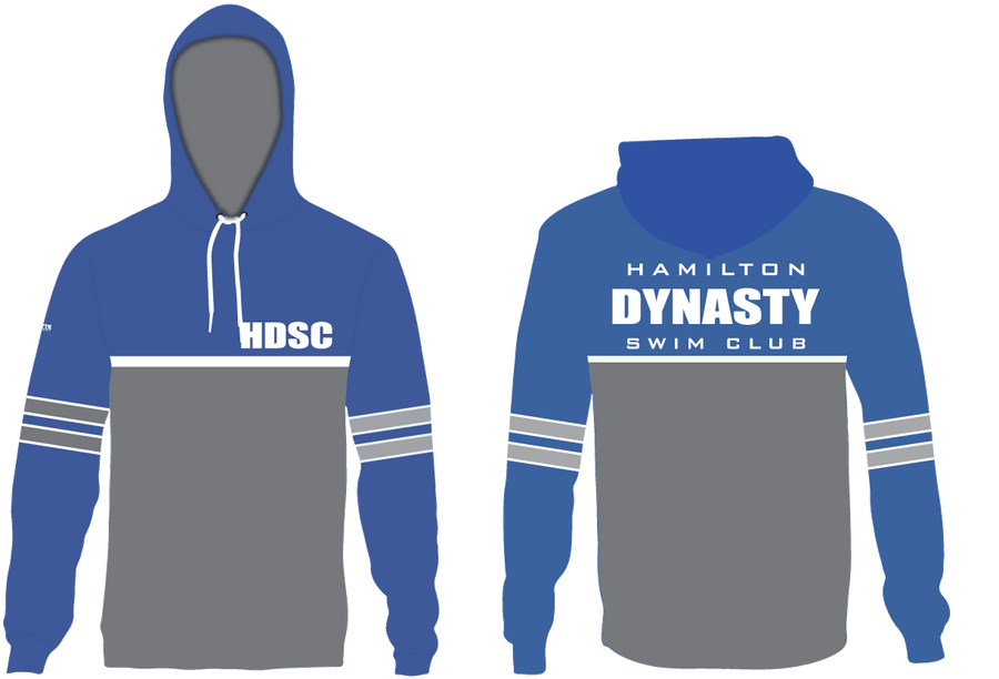 Hamilton Dynasty Swim Club Custom Blue Unisex Adult Hooded Sweatshirt