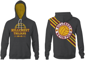Hillcrest High School Water Polo Custom Vintage Heathered Grey Unisex Adult Hooded Sweatshirt