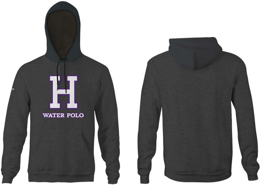 Hoover High School Boy's Water Polo Heathered Charcoal Unisex Hooded Sweatshirt - Personalized