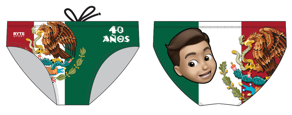 40 Anos Mexican B-Day Custom Men's Water Polo Brief