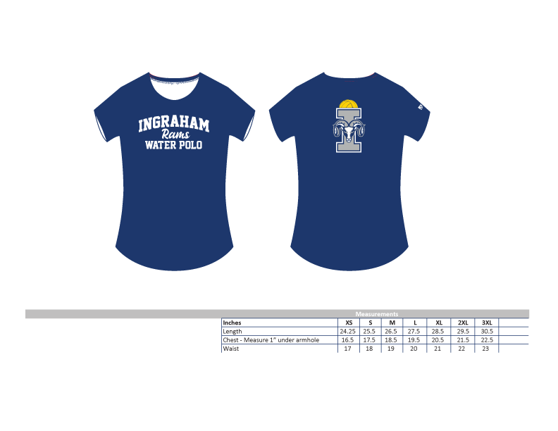 Ingraham High School Water Polo 2019 Custom Women's Fitted Crew Neck T-Shirt