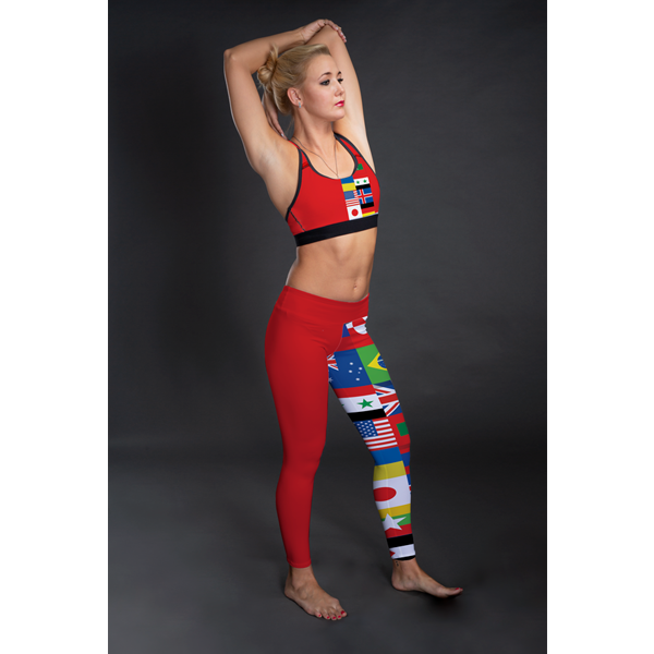 International Red Mid-Rise Full Length Leggings