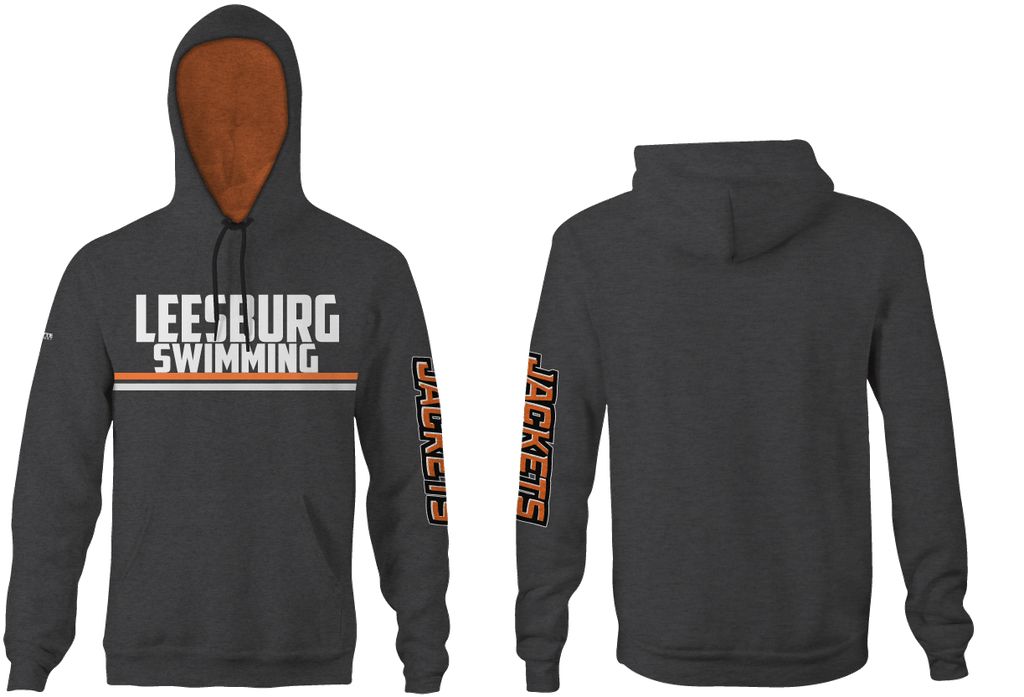 Leesburg High School Swim 2019 Custom Heathered Grey Hooded Sweathshirt