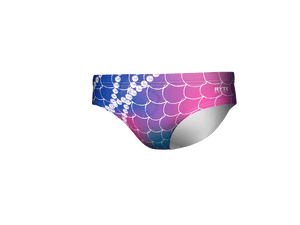 Neon Fish Scale Print Men's Swim & Water Polo Brief