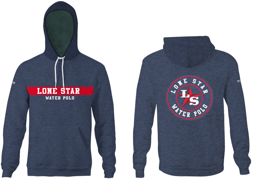 Lone Star Water Polo Club Custom Vintage Heathered Navy Unisex Adult Hooded Sweatshirt