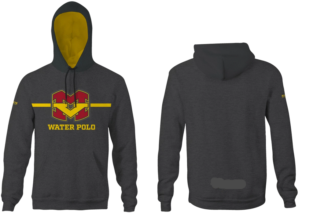 Mission Viejo High School Water Polo 2019 Custom Heathered Charcoal Hooded Sweatshirt - Personalized