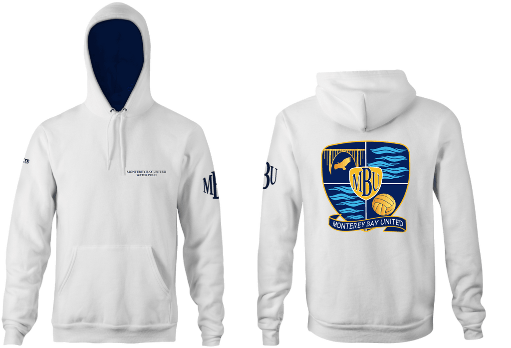 Monterey Bay United Water Polo Club Custom Adult  Unisex Hooded Sweatshirt - White