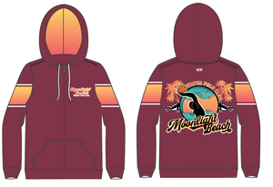 Moonlight Beach Water Polo Club Custom Unisex Zip Up Hooded Sweatshirt
