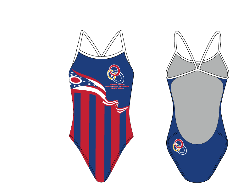 North Coast Endurance Coaching Elite Team Flag Open Back Thin Strap Swimsuit