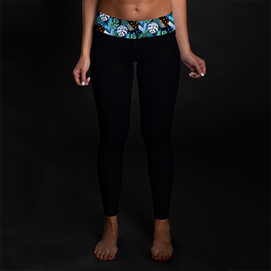Neon Jungle Black Mid-Rise Full Length Leggings