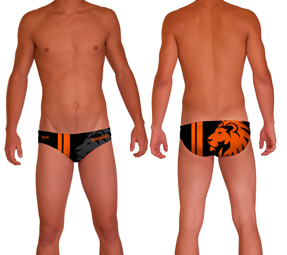 Netherlands Mens Water Polo Suit  Features:  Compression Fitting PBT/Polyester Blend Fabric with Four-way stretch technology Low Stretch Flat Drawcord Flatlock Stitch Construction prevents chafe