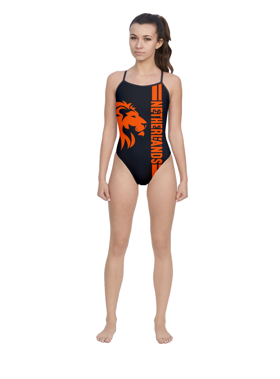 Netherlands Women's Open Back Thin Strap Swimsuit