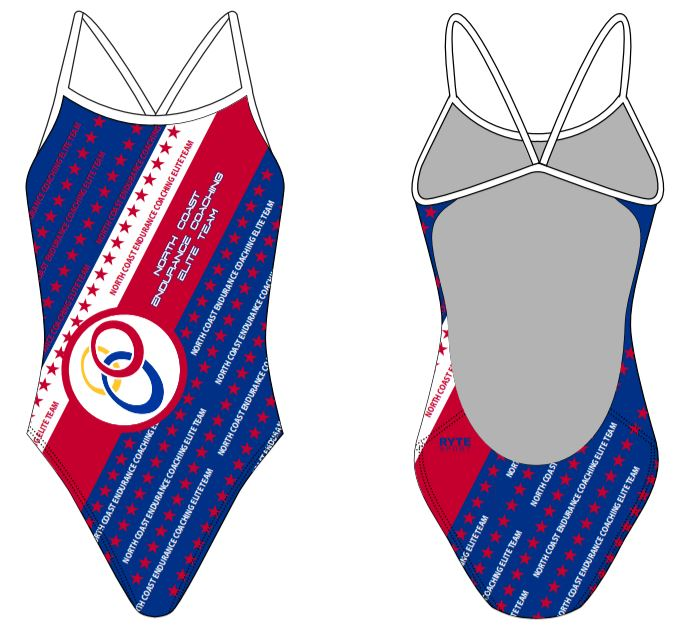 North Coast Endurance Coaching Elite Team Stars Open Back Thin Strap Swimsuit