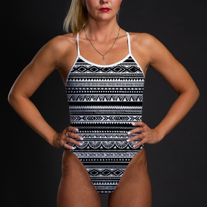 Tribal Black & White Women's Open Back Thin Strap Swimsuit