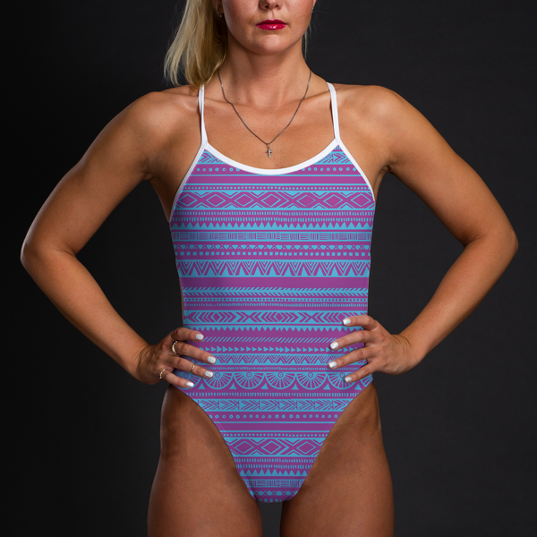 Pink & Blue Tribal Women's Open Back Thin Strap Swimsuit