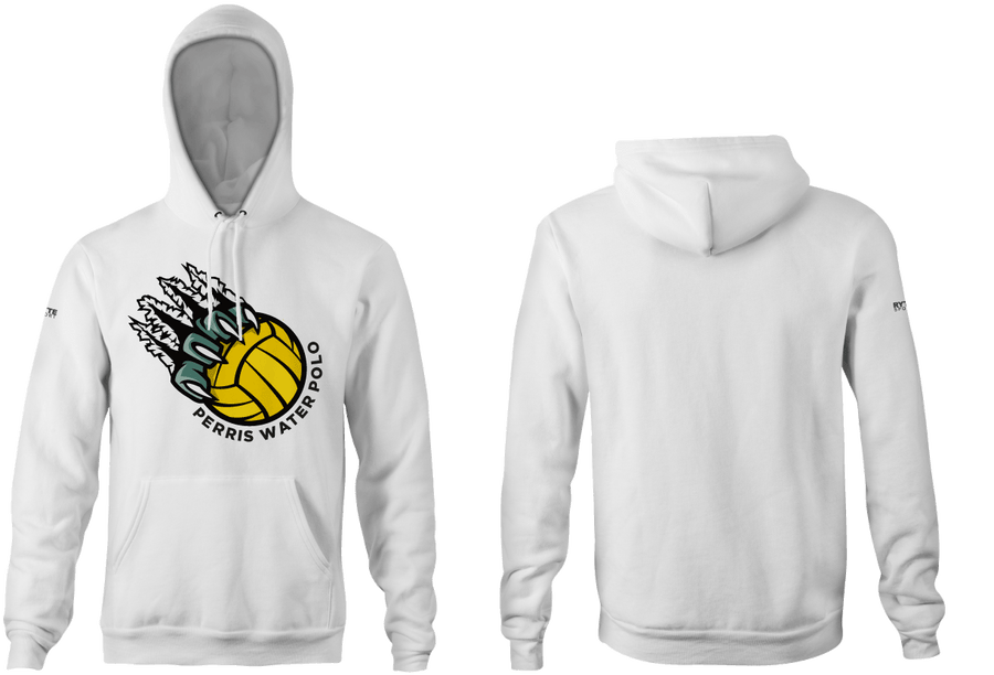 Perris High School Water Polo 2019 Custom White Heathered Unisex Adult Hooded Sweatshirt - Personalized