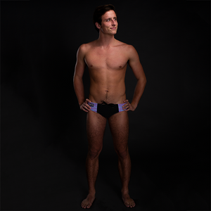 Pink & Blue Tribal (Black) Men's Swim & Water Polo Brief
