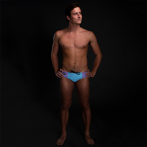 Pink & Blue Tribal (Blue) Men's Swim & Water Polo Brief