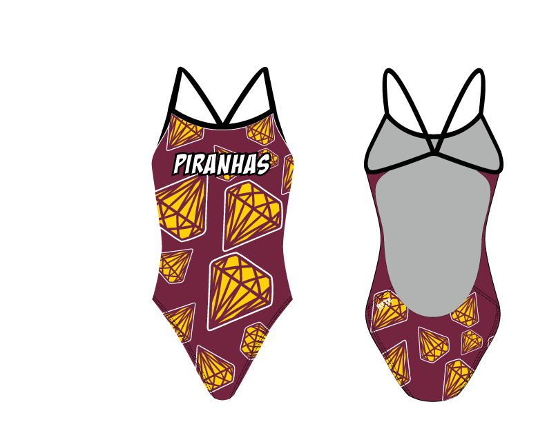 Piranhas Swim Team 2019 Custom Women's Open Back Thin Strap Swimsuit