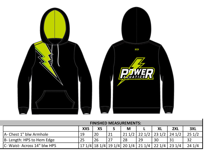 Power Aquatics Water Polo Black Unisex Adult Hooded Sweatshirt