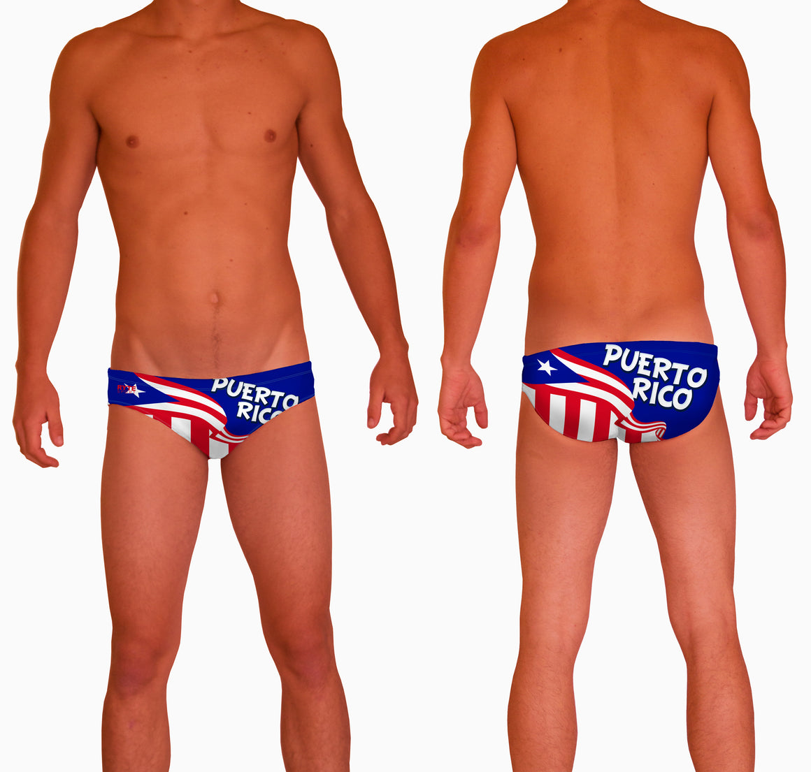 Puerto Rico Mens Water Polo Suit  Features:  Compression Fitting PBT/Polyester Blend Fabric with Four-way stretch technology Dual Layer Lined Brief Low Stretch Flat Drawcord Flatlock Stitch Construction prevents chafe Turned In Liner Seams for Optimum Comfort Chlorine Resistant Fabric