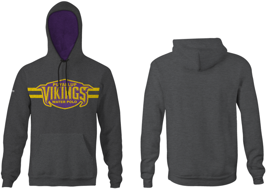 Puyallup High School Water Polo 2019 Heathered Charcoal Hooded Sweatshirt - Personalized
