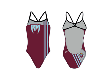 Rancho Mirage High School Swim 2020 Custom Women's Open Back Thin Strap Swimsuit - Personalized