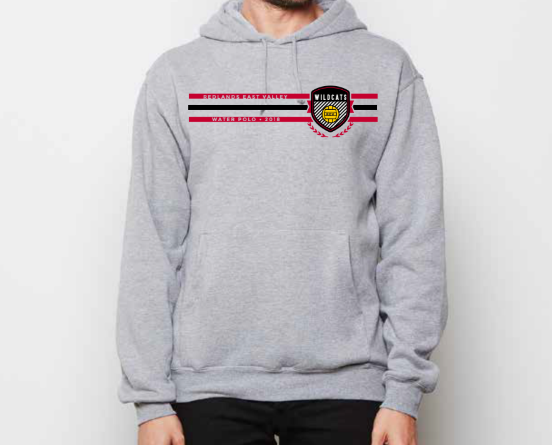Redlands East Valley High School Water Polo Athletic Gray Unisex Hooded Sweatshirt