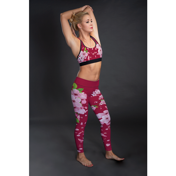 Sakura Hot Pink Mid-Rise Full Length Leggings