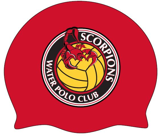 TWO - Scorpions Water Polo Club Red Goalie Latex Caps