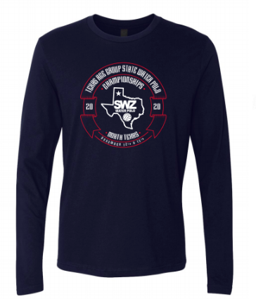 Texas Age Group State Water Polo Championship Custom Navy Long Sleeve Crew