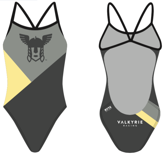 Valhalla Racing Custom Gray Women's Open Back Thin Strap Swimsuit