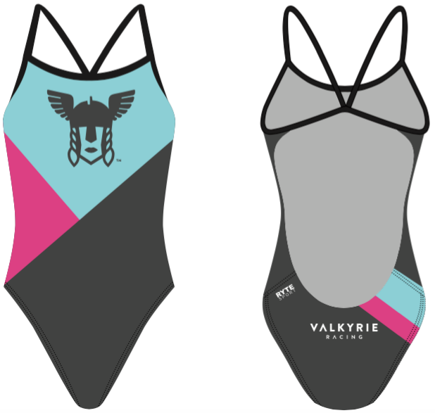 Valhalla Racing Custom Blue Women's Open Back Thin Strap Swimsuit