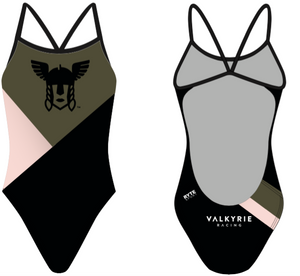 Valhalla Racing Custom Black Women's Open Back Thin Strap Swimsuit