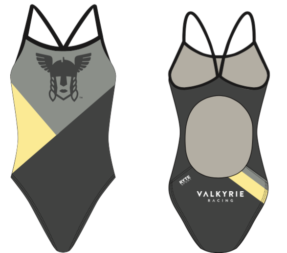 Valkyrie Racing Custom Gray Women's Active Back Thin Strap Swimsuit