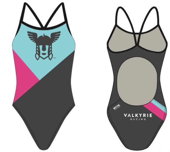Valkyrie Racing Custom Blue Women's Active Back Thin Strap Swimsuit