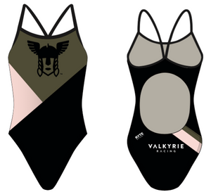 Valkyrie Racing Custom Black Women's Active Back Thin Strap Swimsuit