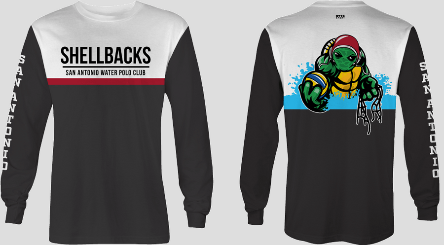 SA Water Polo Club - SHELLBACKS 2019 Black Custom Long Sleeve Men's T-Shirt