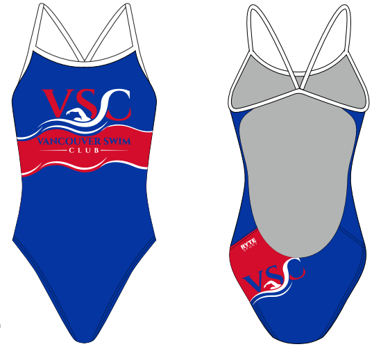 Vancouver Swim Club 2019 Custom Women's Open Back Thin Strap Swimsuit