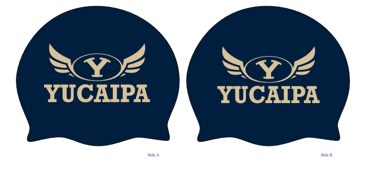 TWO - Yucaipa High School Swim 2019 Custom Black/Blue Latex Caps