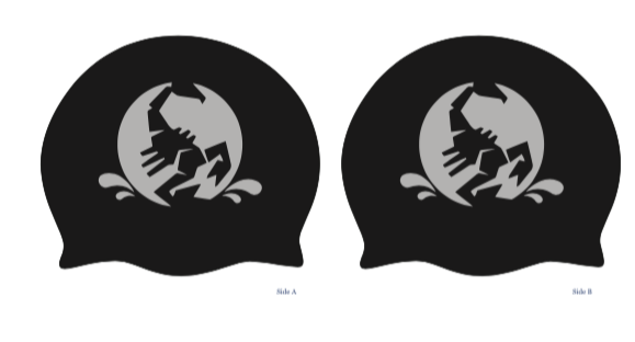 TWO - Aquatex Water Polo Custom Black Latex Caps