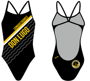 Don Lugo High School Swim 2019 Custom Women's Open Back Thin Strap Swimsuit - Personalized