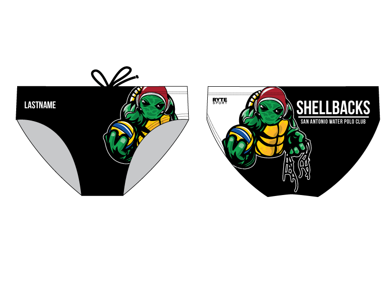 SA Water Polo Club - SHELLBACKS 2019 Black Custom Men's Water Polo Brief - Personalized