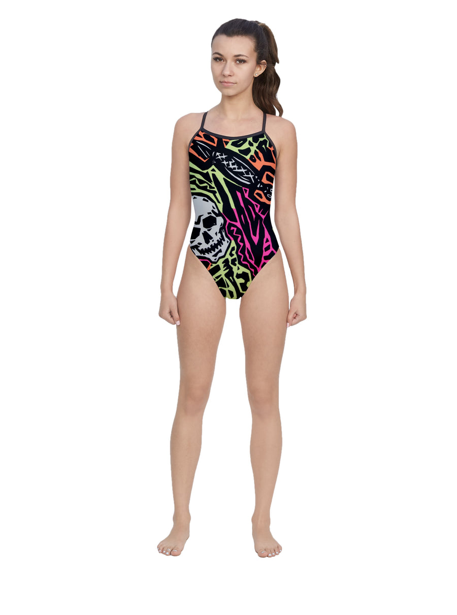Neon & Skulls Women's Open Back Thin Strap Swimsuit