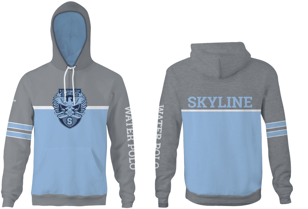 Skyline High School Water Polo 2019 Custom Heathered Gray Unisex Adult Hooded Sweatshirt