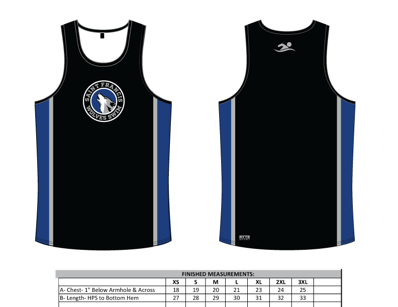 Saint Francis Catholic Academy Swim Team 2019 Custom Men's Tank Top - Personalized