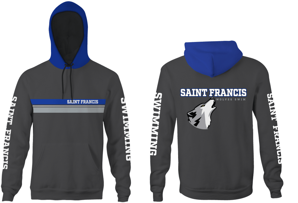 Saint Francis Catholic Academy Swim Team 2020 Custom Heathered Unisex Adult Hooded Sweatshirt