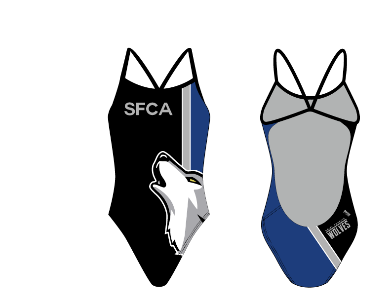 Saint Francis Catholic Academy Swim Team 2019 Custom Women's Open Back Thin Strap Swimsuit - Personalized