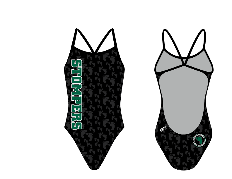 Stanwich Stompers Swim & Dive Team 2019 Custom Women's Open Back Thin Strap Swimsuit