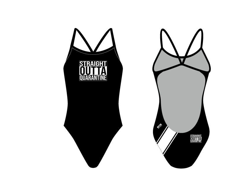 Straight Outta Quarantine Women's Open Back Thin Strap Swimsuit
